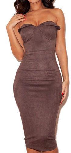 Sophia Purple Suede Strapless Dress