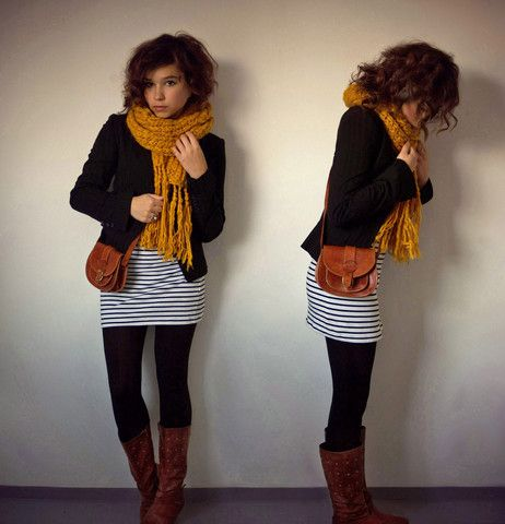 fall color (:Knits Scarves, Fall Outfits, Fall Winte, Mustard Scarf, Striped Skirts, Fall Fashion, Brown Boots, Cute Outfit, Mustard Yellow