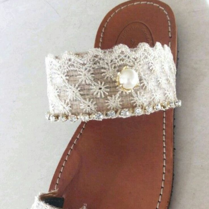 Handmade greek leather sandal Decorated with lace and pearl