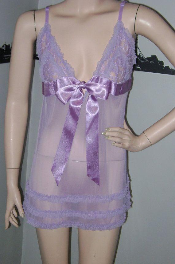 Vintage Lavender Babydoll Nightie Sexy Purple Lingerie