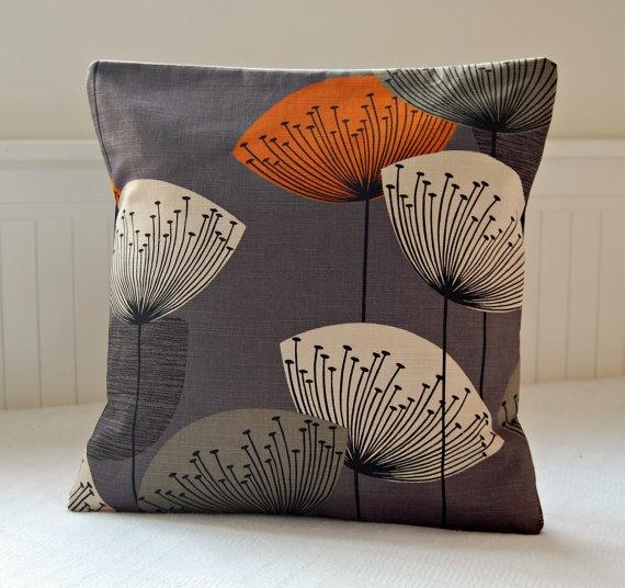 Orange Dandelion Clocks Slate Grey Decorative Pillow Cover