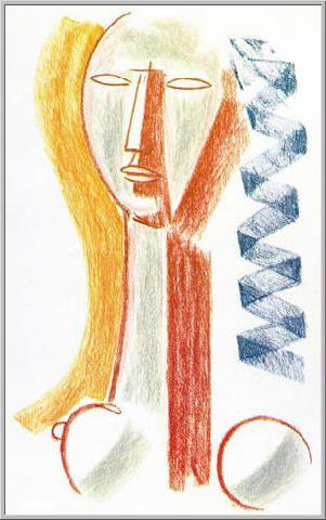 Mario Tozzi 1977: Figura (la treccia blu). Figura (la treccia blu)  Pastello su Carta - cm.65x50 - Collezione Privata Pescara - Archivio n.124.