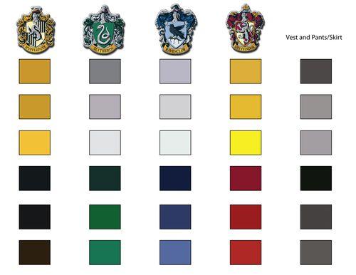 Hogwarts Uniform Colour Scheme Pallette