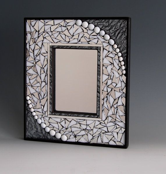 Mosaic mirror with stained glass, mirror pieces, and silver Van Gogh glass. on Etsy, $85.00