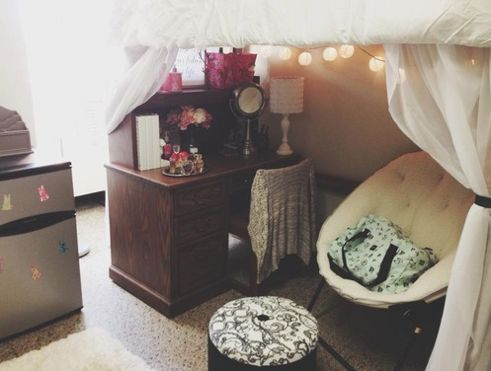 Adorable Classy Dorm<3 - extra room behind bed between wall possibly for a desk or cute little nook
