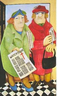 "Beryl Cook (British, 1926–2008)  ""Ladies of the Watchtower"", 1973   ~  'I don't often paint from sheer malice, but this was an exception........these two Jehovah's Witness campaigners were always coming to the door and pestering me.'"