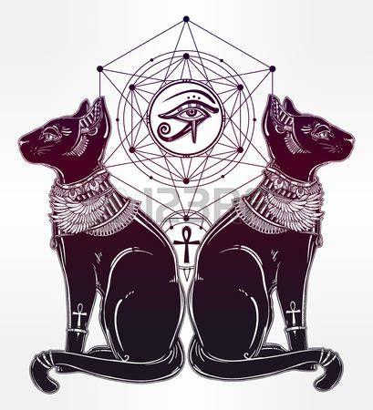 katze tattoo: Symbol der Göttin Bastet - Vintage Hand ägyptische Katze mit Auge des Gottes Horus gezogen. Vektor-Illustration isoliert. Magie religiöse Objekte linear in der Art. Tattoo und Druck Umriss Vorlage.