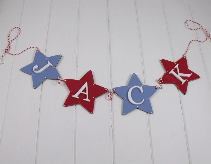 Boys Patriotic Red White & Blue Bunting Personalised Name & Wooden Stars | eBay
