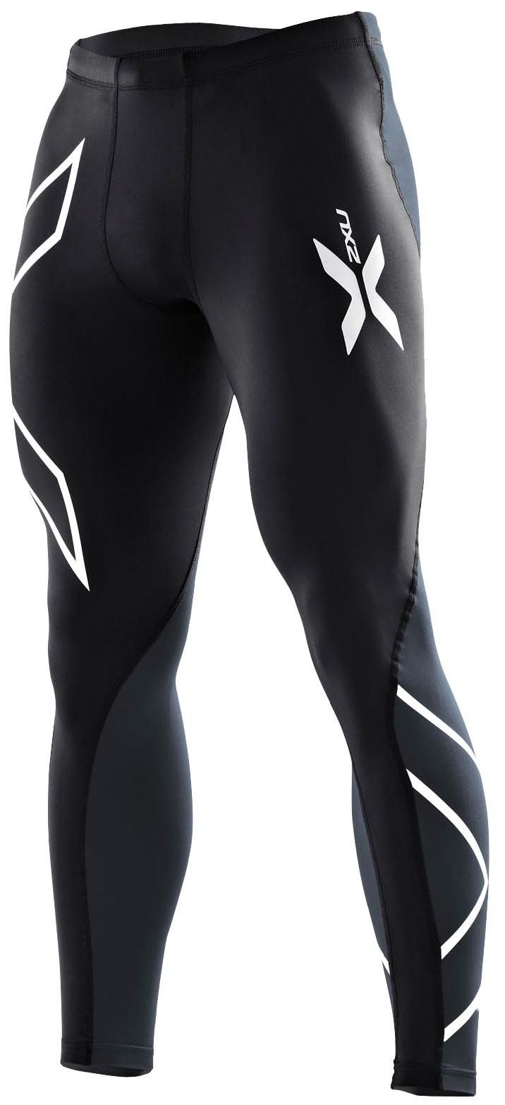 2XU Men's Elite Compression Tights, Black/Steel, X-Small
