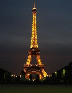 """Eiffel tower at night..ended up getting """"lost"""" when we got off on the wrong level. Never did see the view of Paris at night like we were supposed to-looking back I think my friend and I had more fun anyway!"""