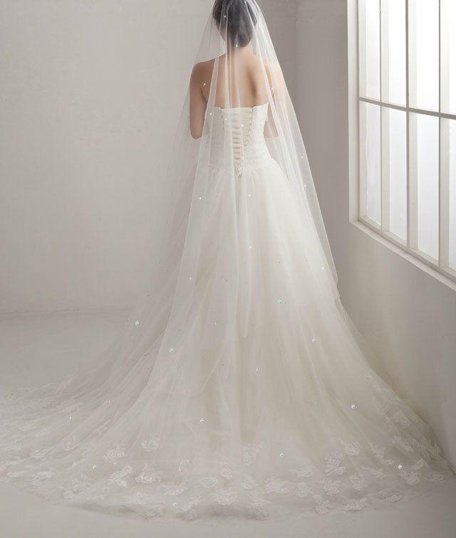 Swarovski Crystal Scattered Soft Bridal Illusion Tulle Veil Chapel Cathedral Length Wedding Ivory