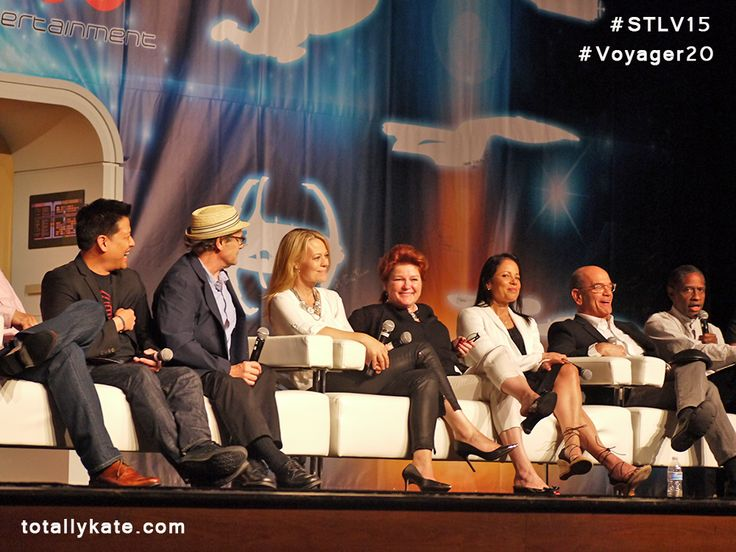 "The cast of ""Star Trek: Voyager"" turned out for the 20th anniversary reunion panel at Creation Entertainment's Official Star Trek convention at the Rio Hotel in Las Vegas on August 8, 2015. - photo form Kate Mulgrew's blog;  Garrett Wang, Ethan Phillips , Jeri Ryan, Kate Mulgrew, Roxann Dawson, Robert Picardo, Tim Russ"