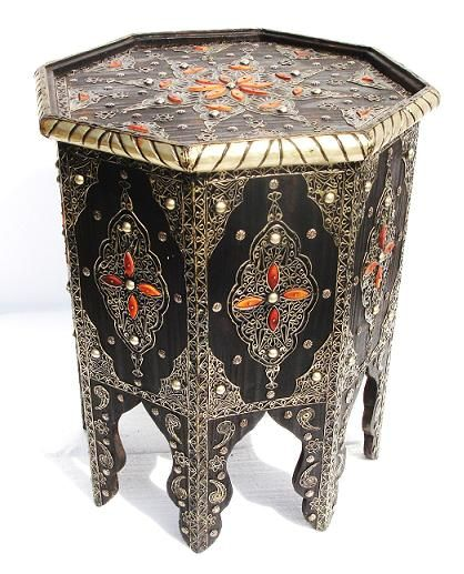 """$510  Hand tooled moroccan camel bone and metal silver table, great workmanship, gorgeous ethnic home decor add, this table will give a special tone to any place. Handmade in Morocco.     - Measures 20"""" 1/2 x 18""""  - Shipping will apply  - Option on camel bone color is available"""