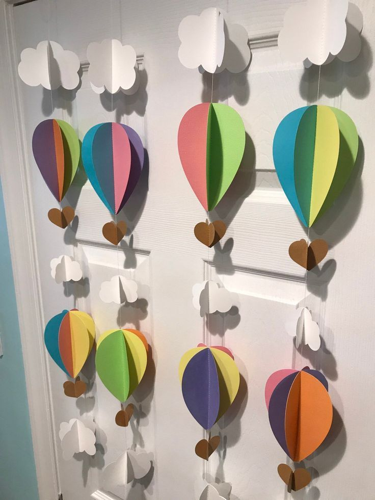 3-D Hot Air Balloon Garland, Hot Air Balloon Decorations, Graduation Party Decoration, Oh the Places You'll Go, Paper Garland, 3-D Garlands by SuzyIsA