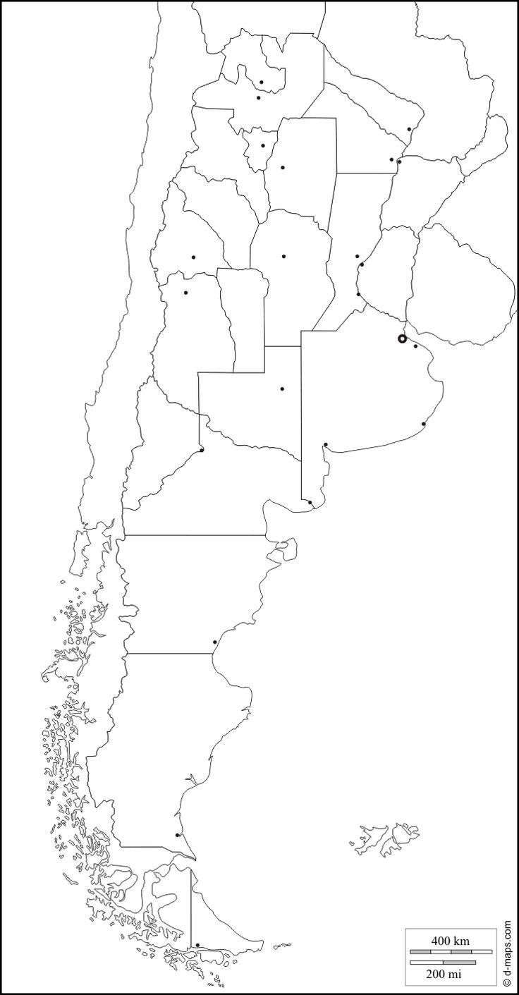 Argentina : free map, free blank map, free outline map, free base map : boundaries, provinces, main cities (white)