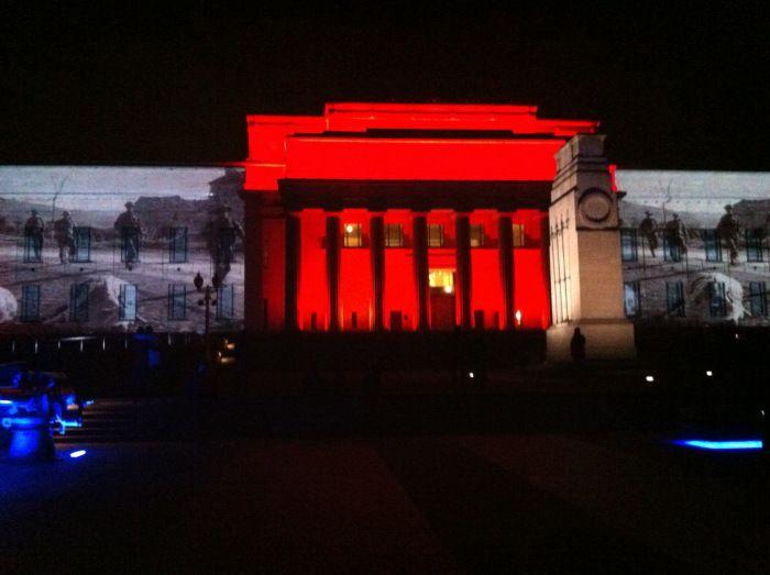 Anzac Illuminations, Auckland War Memorial Museum. Photo: Su Leslie 2012