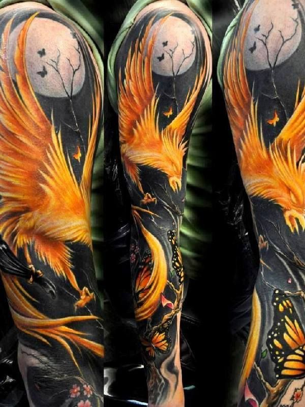Awesome Phoenix Tattoo On Full Sleeve