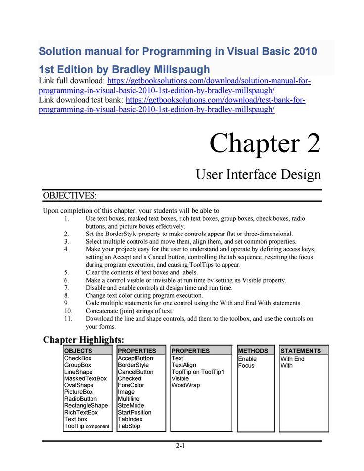 Visual Basic 2010 solutions manual