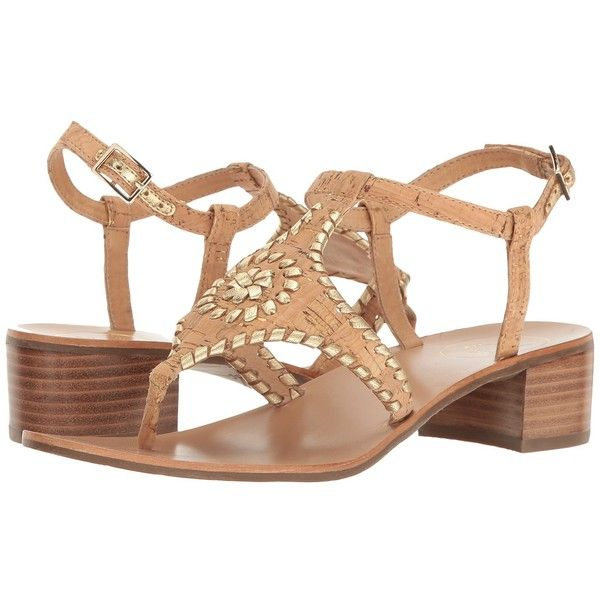 Jack Rogers Elise (Cork/Gold) Women's Sandals ($100) ❤ liked on Polyvore featuring shoes, sandals, jack rogers shoes, jack rogers, block heel shoes, gold shoes and gold block heel shoes
