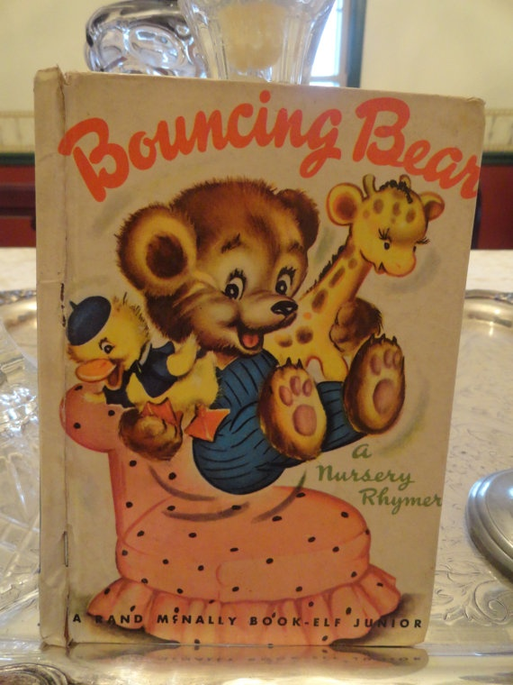1945 NURSERY RHYMER Bouncing Bear Great Frameable Pictures Elf Junior Book