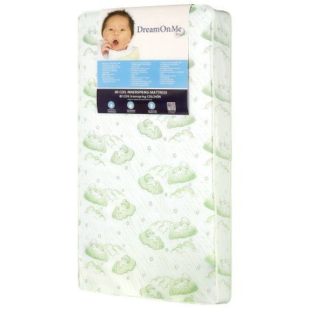 Dream On Me, Twilight 5 inch 80 Coil Spring Crib And Toddler Bed Mattress, Green Cloud, White