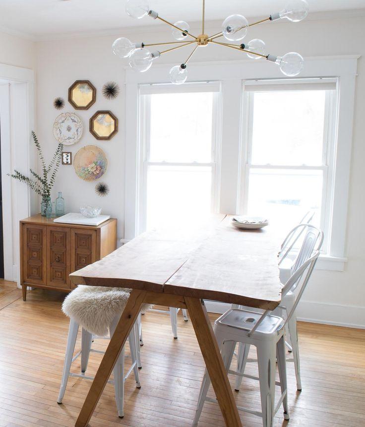 A Budget Friendly DIY Sputnik Light, Live Edge Slab Table And Quirky Art  Were