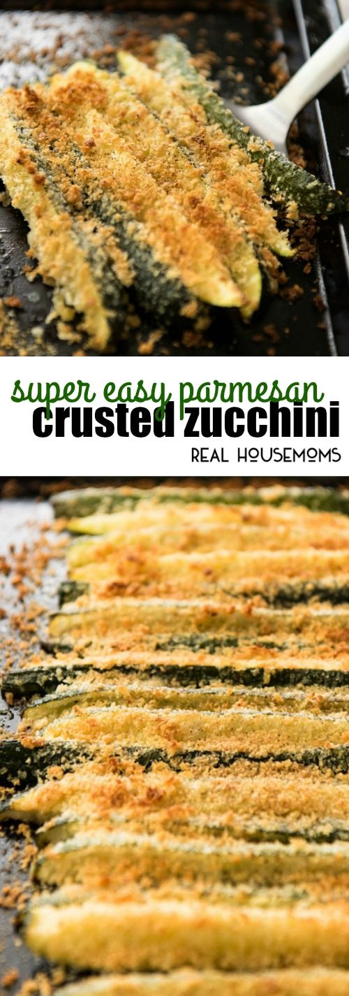 This Super Easy Parmesan Crusted Zucchini takes about 2 minutes to prepare and 10 minutes to cook. It's a brilliant super quick vegetable side! via @realhousemoms