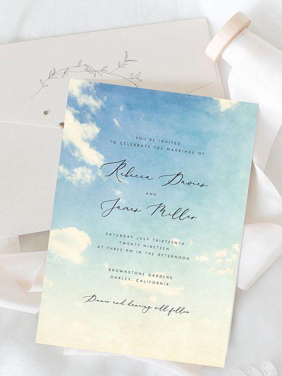 Printable Wedding Invitation Template Clouds Sky Wedding