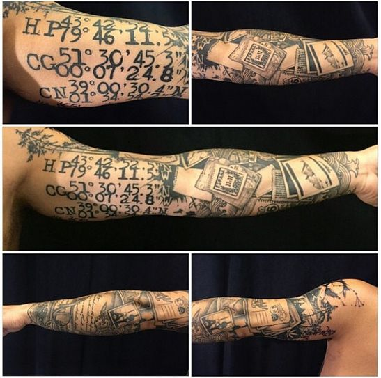 If you love to travel, consider documenting where you've been or where you want to go like this guy did.   27 Themed Tattoo Sleeves That Are Basically Works Of Art