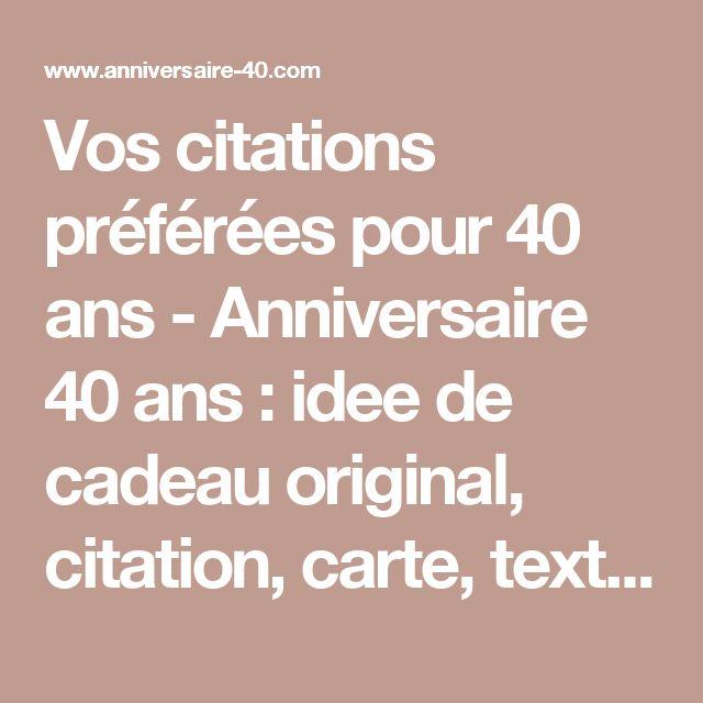Citation Anniversaire 40 Ans