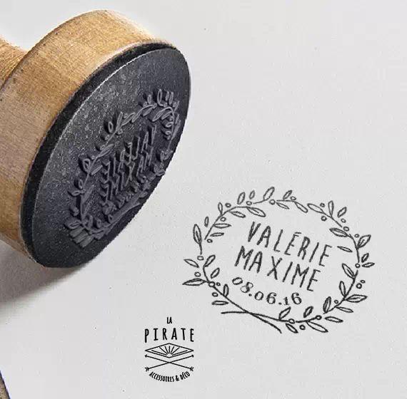 Tampon de mariage personnalisé ! Rameau d'olivier, Couronne, fleur, Tampon Mariage champêtre. Livraison Gratuite en France #mariage #champetre #vintage