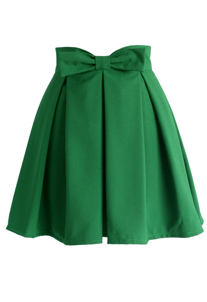 Sweet Your Heart Bowknot Pleated Skirt in Emerald Green - New Arrivals - Retro, Indie and Unique Fashion