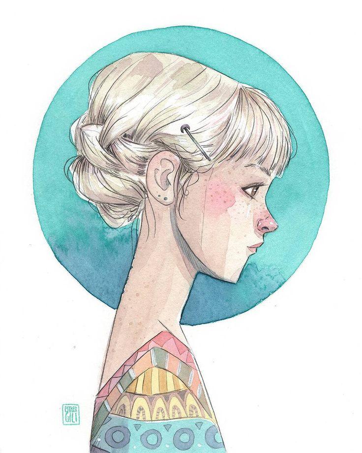 """Ya están en mi web las dos acuarelas de hoy. Tenéis toda la información en http://www.esthergili.com/p/originales-sep.html 15/30 AYLA """"Siempre supe que Ayla tenía algo especial, su pelo blanco, su piel casi transparente, su delicadeza al moverse y al hablar...Mi casa estaba al lado de la de su abuela y cuando podíamos nos escapábamos a jugar juntas en su jardín. Ella sabía muy poco de sus padres, su abuela nunca le hablaba de ellos. El único recuerdo que guardaba era la horquilla con una peq"""
