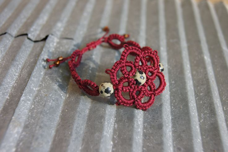 Handmade Unique Tatted Dalmation flower bracelet by Svartakattens on Etsy https://www.etsy.com/listing/243378347/handmade-unique-tatted-dalmation-flower