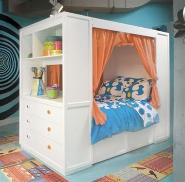 Cool bed for a teenage girl! Change up the color and it could be for a boy
