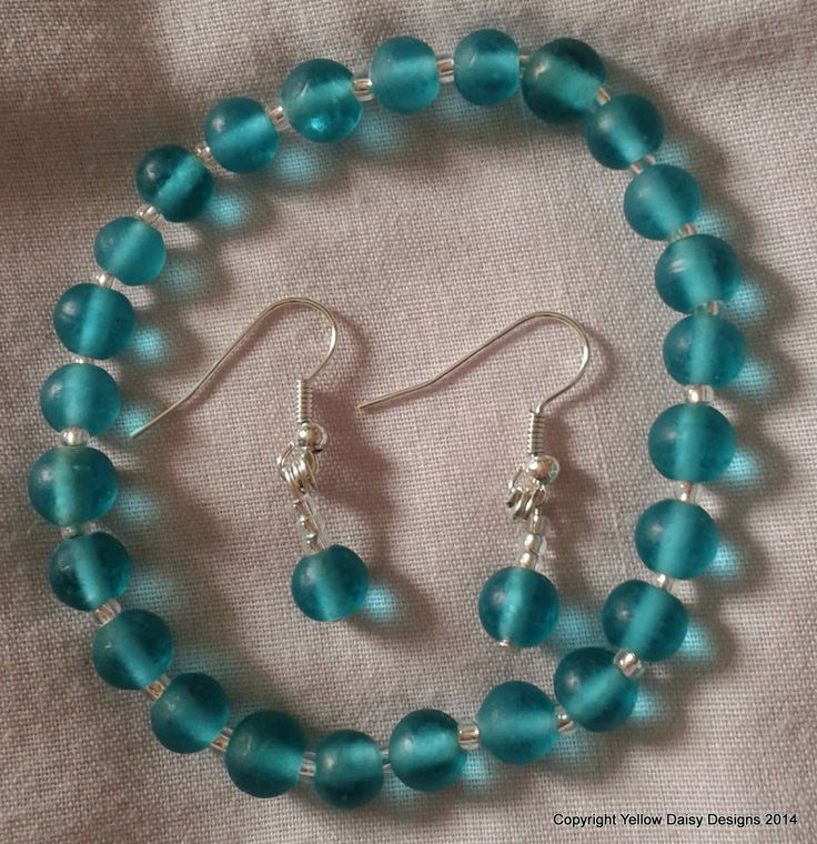 Made this morning!  Beautiful glass bead bracelet and earrings set £10 plus p & p available to buy from www.facebook.com/yellowdaisydesigns