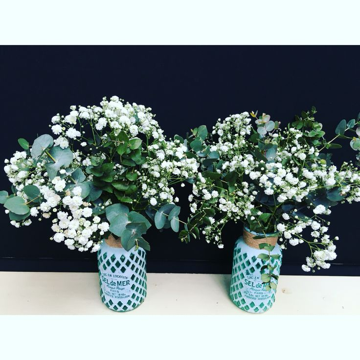 Little flower jars by Bettie bee blooms for the 2 Sisters Organics table at the Geelong Small Business Expo. Blue gum & baby's breath