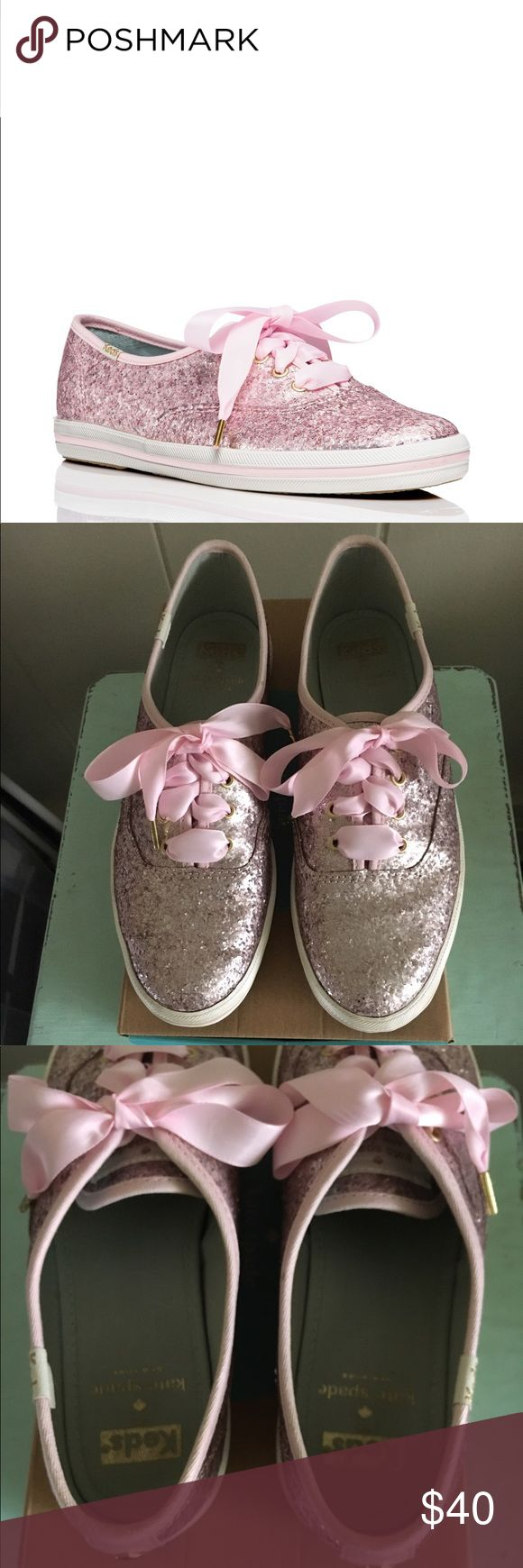 ✨Keds for Kate Spade Glitter Sneakers ✨ Keds for Kate Spade glitter sneakers in iced pink. Great used condition. Please see all photos. Glitter dipped canvas with a rubber heel. Includes satin and cotton laces. No holds or trades please. kate spade Shoes Sneakers