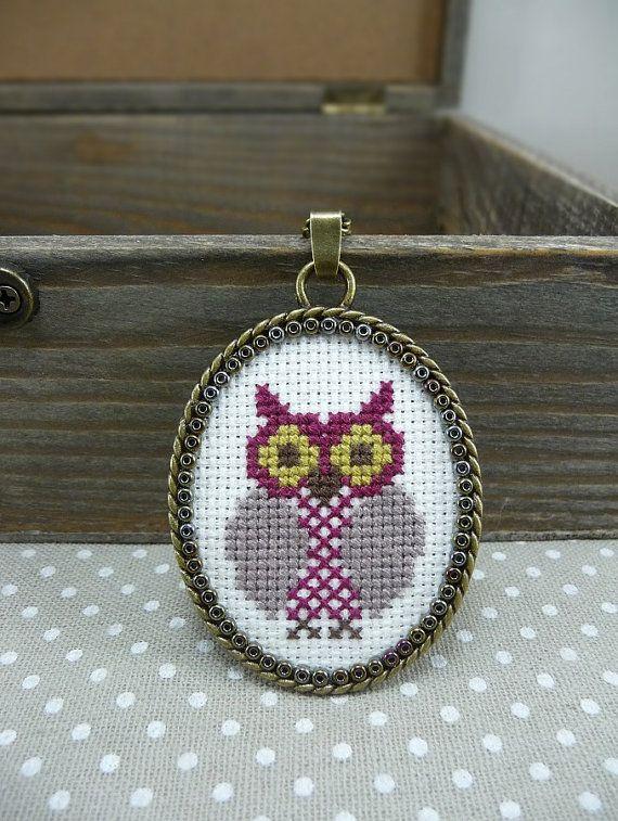 Aubergine Owl Cross Stitch Necklace Plum Textile от TriccotraShop
