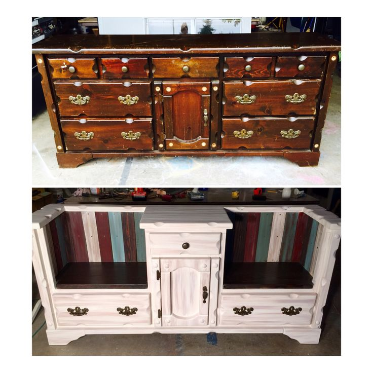 Dresser turned double bench