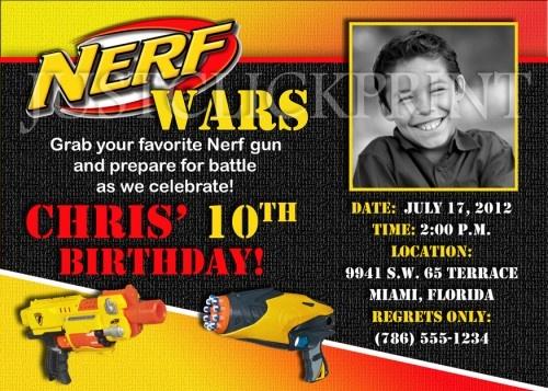 Nerf Gun Wars Inspired Birthday Photo Invitation - Printable UPRINT