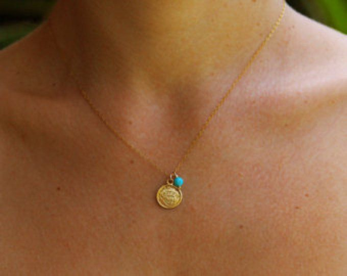 Gouden ketting, ketting munt, disc ketting, turquoise ketting, minimalistische sieraden, dagelijks ketting, gouden ketting, dagelijks sieraden goud