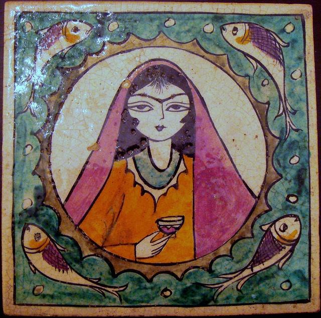 17th century Iranian tile with a jewish iranian woman.