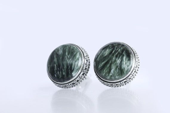 Genuine Seraphinite Stone Cufflinks Jewelry For Men's, 925 Sterling Silver, Handmade Silver Cufflinks, Unique Designer Cufflinks, Inc-12