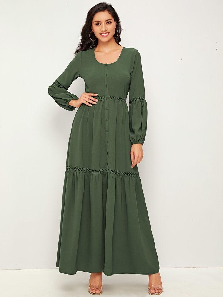 Single Breasted Guipure Lace Insert Flippy Hem Dress 27 00 Army Green Modest Long Sleeve Off Shoulder Casual Dress Women Cheap Dresses Flare Sleeve Dress