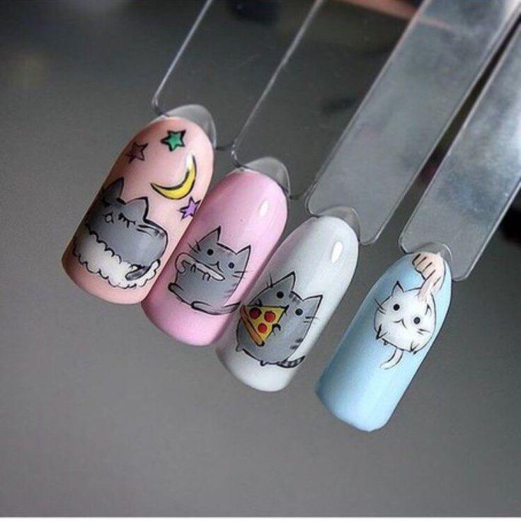 Прикольные рисунки животных на ногтях