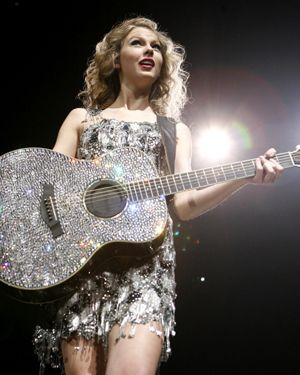 Taylor Swift's sparkly guitar is fabulous.