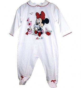 Disney Minnie Mouse Sleepsuit. This beautiful Disney Minnie Mouse Sleepsuit is made from 80% cotton and 20% polyester with a cute baby Minnie Mouse print on the front and ribbon bows on the feet. Poppers are at the back for easywear. In sizes Newborn, 0-3 months or 3-6 months.