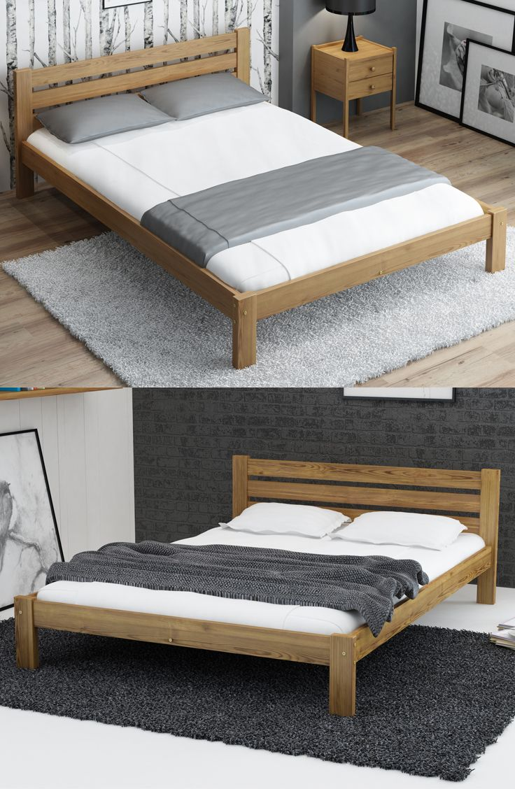 Details About Wooden Oak Pine Wood Bed Frame Foam Mattress With