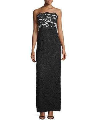 Strapless+Lace+Column+Gown,+Black/White+by+Aidan+Mattox+at+Neiman+Marcus.